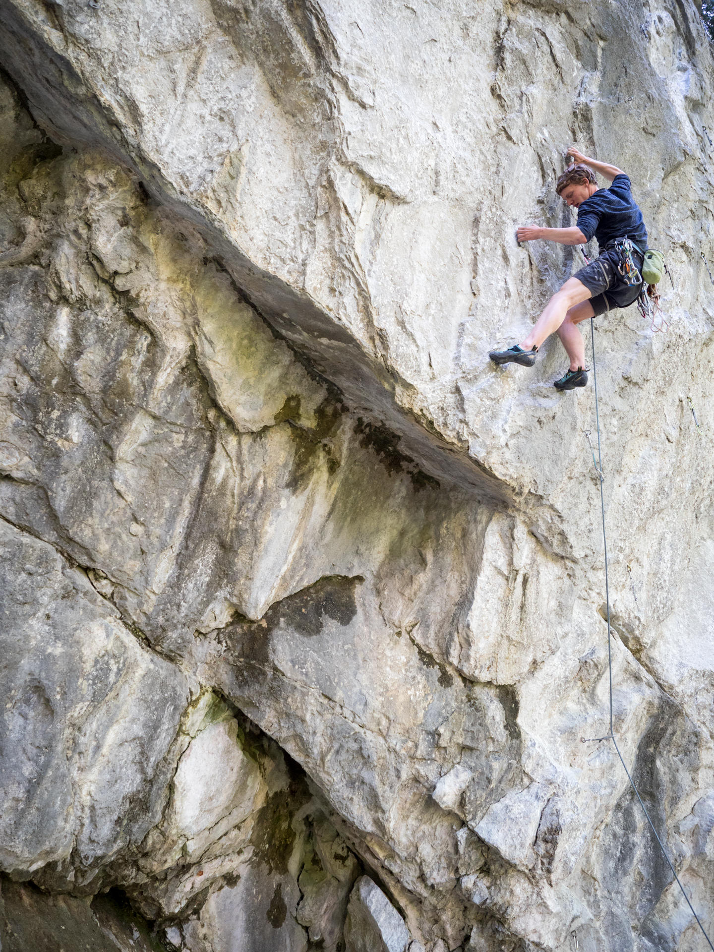 "Climber in ""Welcome to Weigend Wall"" (7c)"