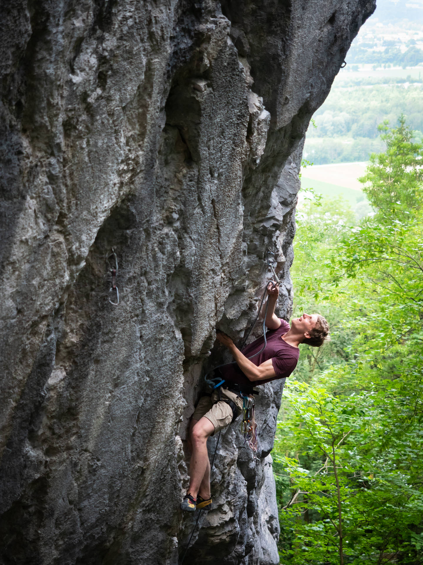 "Climber in ""Fitz"" (7c) at Godzillawand"